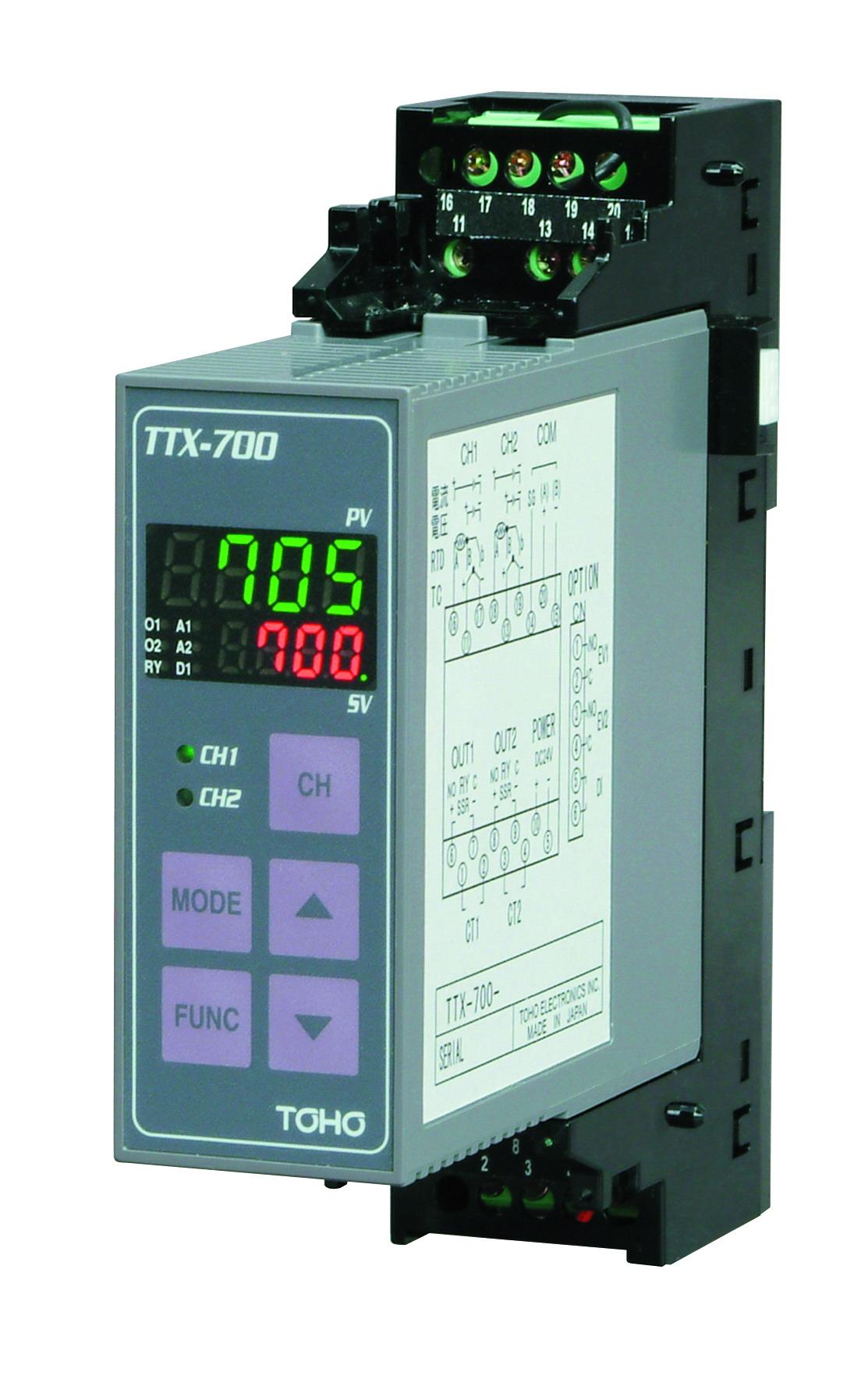 DINレール型2chデジタル指示調節計TTX-700